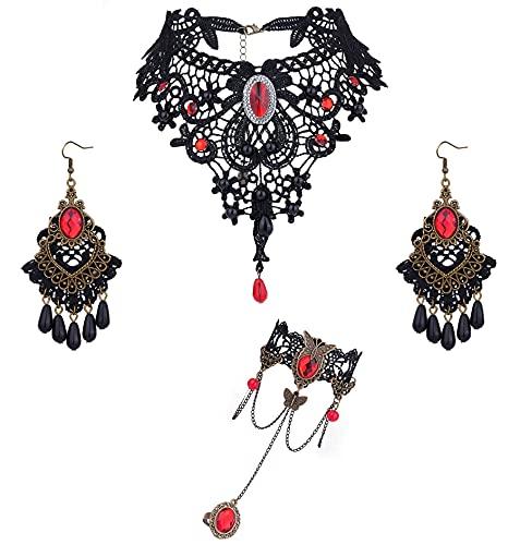 JeweBella Joyas Gtica para Mujer Negro Collar de Gargantilla de Encaje con Pulsera Negro y Pendientes para Halloween Cosplay Vampiro Lolita Disfraz