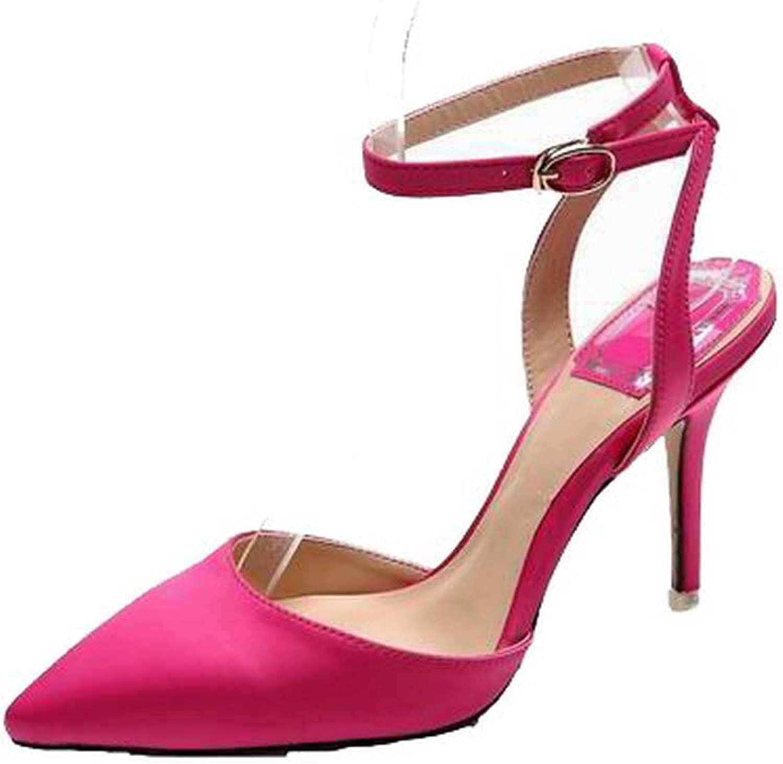 AmoonyFashion Women's Closed-Toe Buckle Pu Solid High-Heels Sandals, BUTLT007872