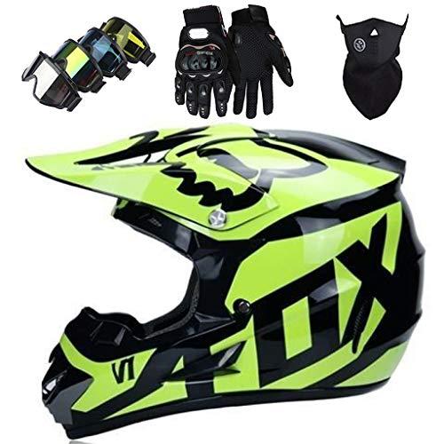 Casco Cross Niño, Casco Motocross Infantil con Diseño FOX Casco MTB Integral...