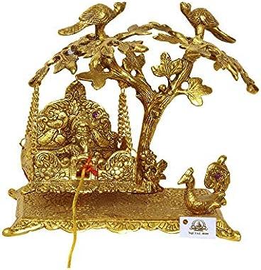Metal kala Metal Tree Peacock Krishna Jhula/Laddu Gopal Jhoola/Jhula Home Decor (21 x 9 x 22 cm, Golden)