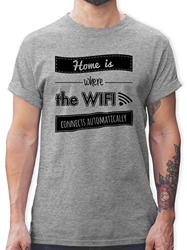 Statement - Home is Where The WiFi Connects Automatically - S - Grau meliert - Shirt Home WiFi - L190 - Tshirt Herren und Männer T-Shirts