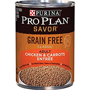 Purina Pro Plan Grain Free Pate Wet Dog Food, SAVOR Chicken & Carrots Entree – (12) 13 oz. Cans