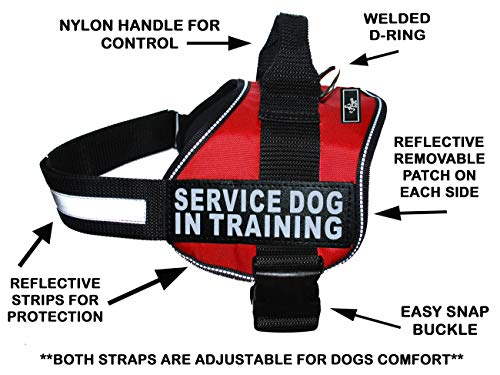 "Doggie Stylz Service Dog in Training Vest with Hook and Loop Straps and Handle – Harness Comes in Sizes XXS to XXL – Three Colors – Dog Harness Features 2 Reflective Patches (Girth 19""- 25"