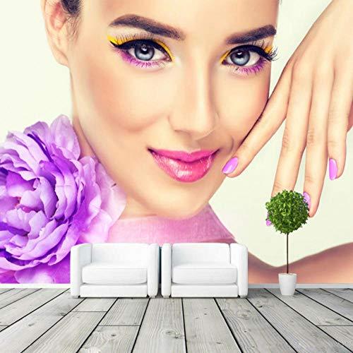 Fleece behang, modern, minimalistisch, elegant, behang, 3D, bloemen, Lady, foto, behang, vest, slaapkamer, woonkamer, decoratie, slaapkamer, woonkamer, hal, 300 x 210