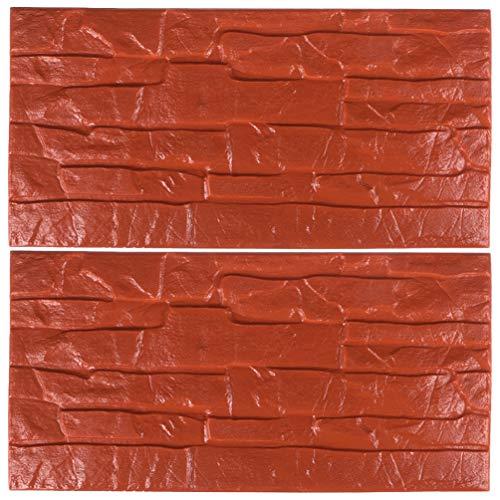 CLISPEED Rote Backstein 3D Wandpaneele Selbstklebende Wasserdichte Tapete für Wohnzimmer Schlafzimmer Hintergrund Wanddekoration 2Pcs 30X60cm