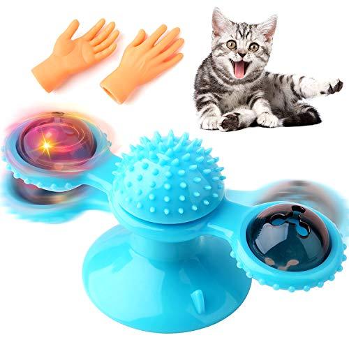 Exboard Windmühle Katzenspielzeug, interaktive Katzenspielzeug-Plattenspieler mit Saugnapfbürste, Mini-Silikonhandschuhfinger, Katzenspinner für die Wandmontage mit drehbarem Spielzeugball