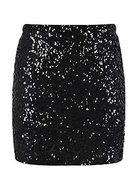kayamiya Women s Sequin Skirt Cocktail Sparkly Bodycon Mini Skirt Club Nightout XXL/US 14-16 Black