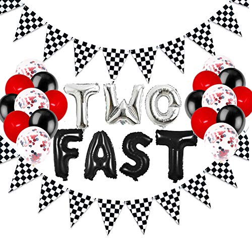 Two Fast Birthday Decorations, Race Car Birthday Decorations, 2nd Second Birthday Party Supplies for Boy Girl Kids, Let's Go Racing Chequered Checkered Black and White Pennant Banner Flags