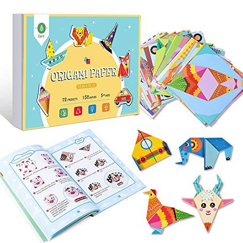 Opret Origami Papier, 152 Blatt 14 x 14 cm Origami Child Doppelseitiges Farbpapier mit 72 Schönen Verschiedenen Mustern mit Buntem Lehrhandbuch &72 Videos, Gefaltetes Quadratisches Papier