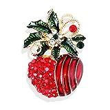 U/N Pintura de Dibujos Animados Color al óleo Aleación de Diamantes Nochebuena Navidad Apple Broche Broche Pin