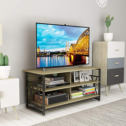 Herasa TV Stand for TV Up to 55 Inch,Entertainment Center with 4 Storage Shelves,TV Console for Flat Screen TV Cable Box, Gaming Consoles, in Living Room, Entertainment Room, Office