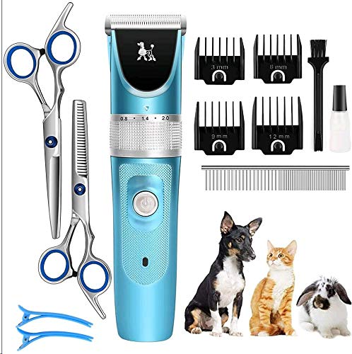 FUNSHION Dog Clippers Grooming kit Low Noise Dog Hair Grooming Clippers Professional Rechargeable Cordless with 2 Dog Grooming Scissors for Dogs