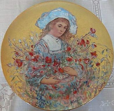 Edna Hibel Lily Flower Girl Collector Plate 24k Gold Textured