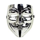 Guy Fawkes Mask Halloween Costume V for Vendetta (Silver)