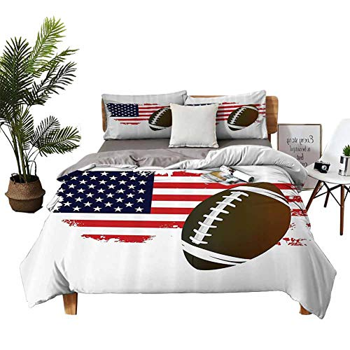 DRAGON VINES Four-Piece Bedding FullSizeBed Bedding Cover Sets American Football Tradition Halftone Pattern of USA Flag Nation Tradition Image Navy Red White Peru Red Quilt Cover W90 xL90