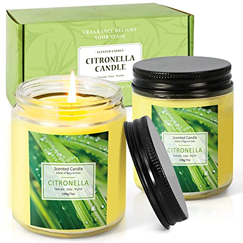 Citronella Candles, Candles for Home Scented. LA BELLEFÉE Lemongrass Large Glass Jar Candle Set for Camping Trips, Backyards Indoor Outdoor Activities Use (2 Packs 7oz Each)