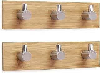Newness Self Adhesive Towel Hook, 3-Hooks Wall-Mounted Coat Holder Rack, Modern 304 Stainless Steel and Bamboo Door Hook for Coat, Belt, Keys, Headset, etc. Kitchen & Bathroom Accessories (2 Pack)
