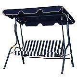 outsunny dondolo 3 posti con tettuccio | struttura in acciaio | fino 200 kg | strisce blu e bianco | 170x110x153cm