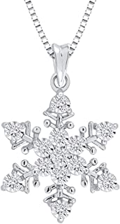 Diamond Snow Flake Pendant Necklace in Sterling Silver (1/20 cttw, G-H, I2-I3)