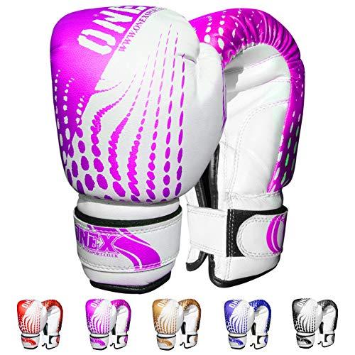 ONEX Boxhandschuhe für Kinder Boxing Gloves Training Sparring Kickboxen Sand Sack Junior/Kids Kickboxhandschuhe Kampfsport MMA und Boxen mit optimaler Schlagdämpfung 6oz (Rosa)