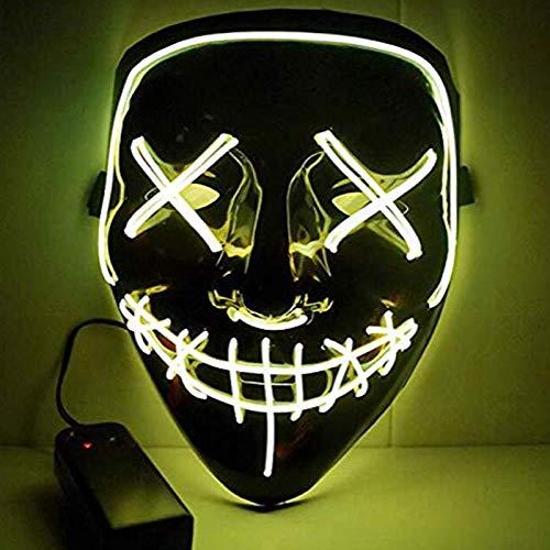 LED licht masker, Halloween schedel masker, led zuivering El draad masker Geel
