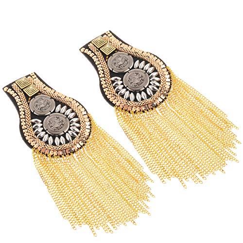 CM Fashion Star Tassel Link Chain Epaulet Shoulder Boards Badge, 1 Pair (Gold Tone(Style 2))