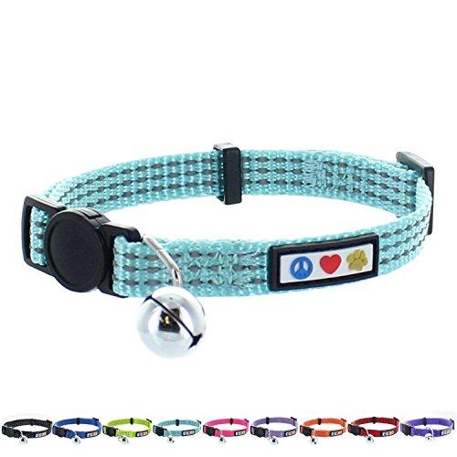 PAWTITAS Reflektierendes Katzenhalsband mit Sicherheitsschnalle und Abnehmbarer Glocke Katzenhalsband Kätzchenhalsband Knickente Katzenhalsband