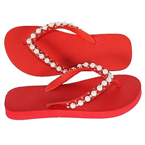 Designer Luxus Flip Flops-Chanclas Exclusivas Simone Herrera-Glamourous Line-Isabella-Riemchen Sandale Zehentrenner (39/40)