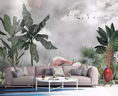 3D fotobehang wandafbeelding wandafbeelding flamingo woonkamer TV sofa achtergrond behang moderne wooncultuur 400 x 280 cm