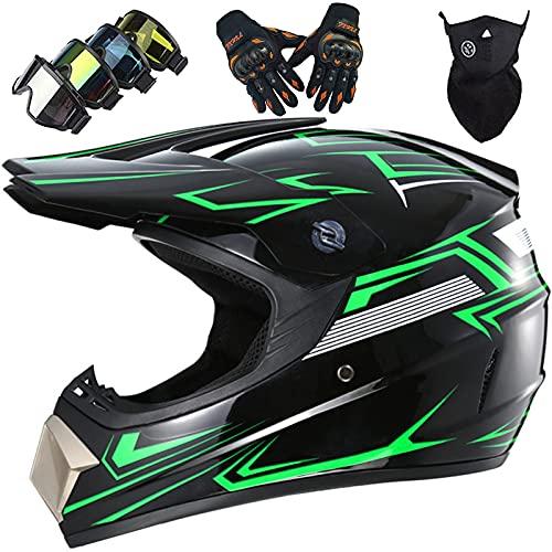 KILCVEM Casco Moto, Casco Motocross Niño Set con Gafas Guantes Máscara, Casco...