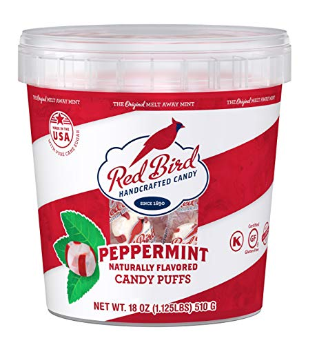 Red Bird Soft Peppermint Puffs, 18 oz Bucket of Individually Wrapped Candy, Non-GMO Verified, Kosher
