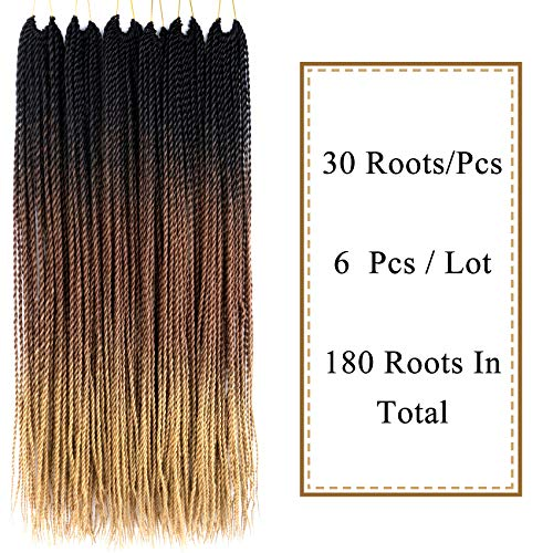 "VCKOVCKO 6 Packs Ombre Synthetic Hair Senegalese Crochet Twist Braiding Hair 30 Roots/Pack,6Pcs/Lot,100g/Pack 24"" (60CM) Kanekalon Ombre Braiding Hair Extensions(Black-Brown-Light Brown)"