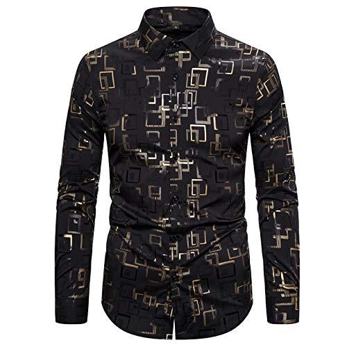 CFWL Chemise De Printemps Chemise De Nuit à Manches Longues pour Hommes Stretch Estampage à Chaud Jackets Veste en Polaire EntièRement ZippéE Homme Casual Chaud Doudoune Noir M