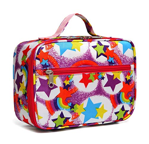 BLUEFAIRY Kids Insulated Lunch Box for Girls Lunch Bags for Boys for School RainbowPurple