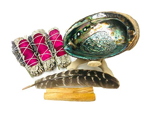 White Sage Smudge Kit - 3 White Sage with Rose and Lavender, 2 Palo Santo, Abalone Shell, Wooden Tripod Stand & Feather! Healing, Purifying, Meditating, Incense & Cleansing