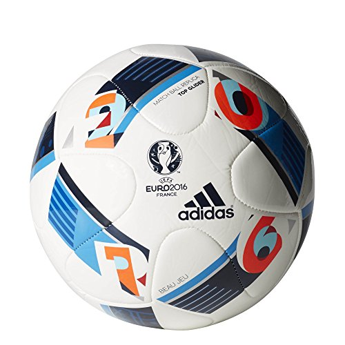 adidas Performance Euro 16 Top Glider Soccer Ball, White/Bright Blue/Night Indigo, 5