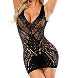 Malbaba Women Transparent Mesh Bodycon Sexy Short Dress V Neck Sleeveless Hollow Out Backless Lingerie Bodysuit Clubwear Black