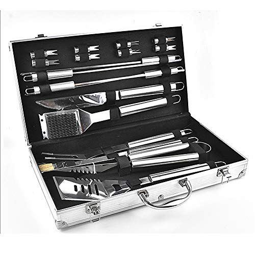 Lowest Price! MFS BBQ Grill Tool Set- 18 Piece Stainless Steel Barbecue Grilling Accessories,Outdoor...