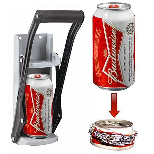FiNeWaY Heavy Duty 16oz Tin Can Crusher Wall Mounted Compress Bottle Opener Steel Tool 500ML 2 in 1 Recycling Tool – Space Saving