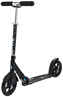 Micro Kickboard - Micro White and Black Adult Kick Scooters, Foldable with Large 200 mm Smooth-Gliding Wheels for Ages 13+