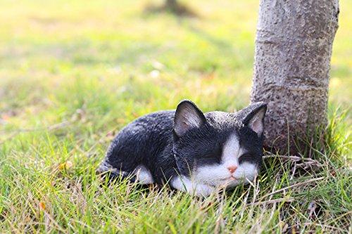 Hi- Line Gift 87699-B Kitten Sleeping Black & White Cat Statue