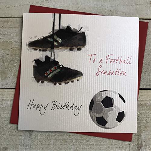 Witte Katoenen Kaarten SB4 Aan Een Voetbal Sensatie Gelukkige Verjaardag Handgemaakte Verjaardagskaart