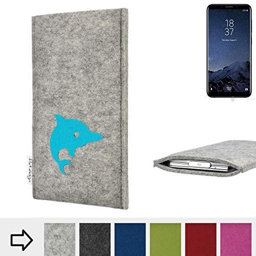 flat.design Handy Hülle für Homtom S8 FARO mit Delphin handgefertigte Filz Tasche fair