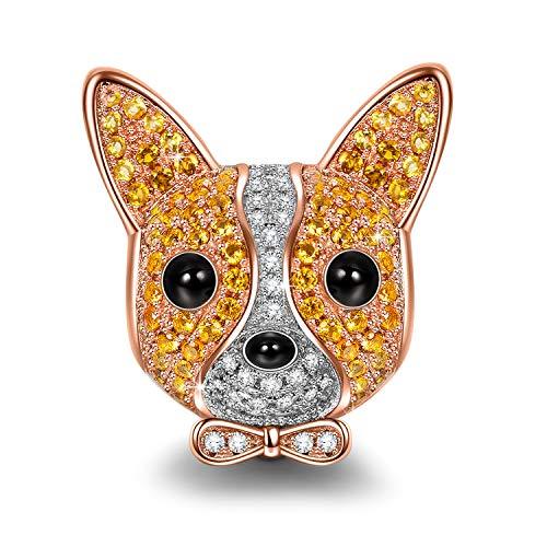 NINAQUEEN Charm für Pandora Charms Armband Chihuahua Hunde Tiere Geschenk für Frauen Silber 925 Zirkonia Schmuck Damen mit Schmuckkasten