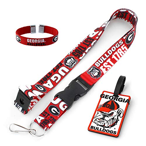 NCAA Georgia Bulldogs Team Soft Luggage Bag Tag, Dynamic Design Lanyard and Ribbon Nylon Bracelet Gift Bundle