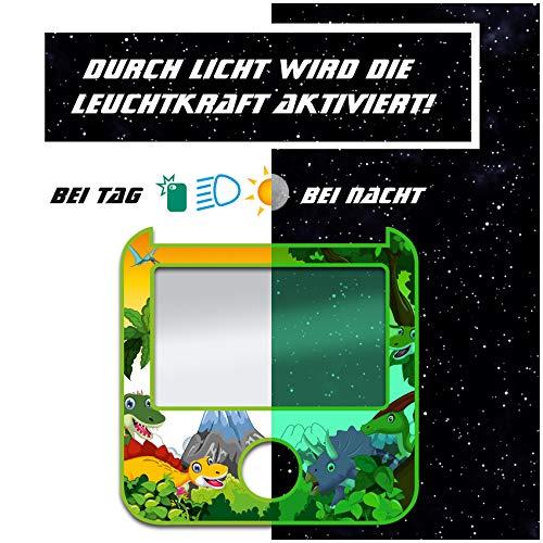yabaduu Design Schutzfolie für Tigerbox inklusive Displayschutz passgenau selbstklebend kindgerecht Folie Zubehör für Kinder Spielzeug Schutzcover Y049 (Nr. 15 Dinos, Nachtleuchtend)