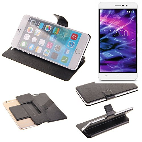 K-S-Trade® Handy Schutz Hülle Für Medion Life S5504 Flip Cover Handy Wallet Case Slim Bookstyle Schwarz