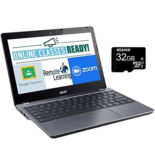 Acer Chromebook C740 11.6 Inch Non-Touch Laptop, Intel Celeron 3205U 1.5 GHz, 4GB DDR3L RAM, 16GB SSD, WiFi, Bluetooth, HDMI, Webcam, Gray, Chrome OS + NexiGo 32GB MicroSD Card Bundle (Renewed)