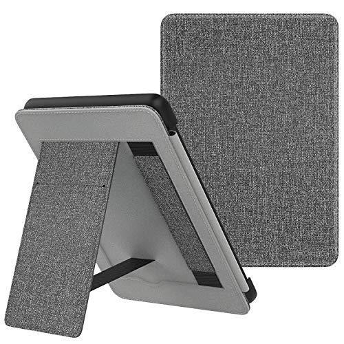 MoKo Hülle für Kindle Paperwhite E-Reader (10. Generation – 2018), Dünne PU Leder Schutzhülle mit Handhalter Auto Schlaf/Aufwach Funktion Ständer - Grau