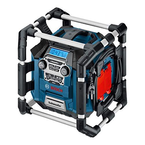 Bosch Professional GML 20 Accu, bouwplaatsradio, 18 V, 20 watt, USB, SD, 2x Aux-In, Aux-Out, 12V DC stroomaansluiting, zonder batterijen en oplader, in doos), zwart, blauw, grijs, rood